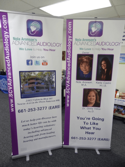 advanced audiology retractable banner