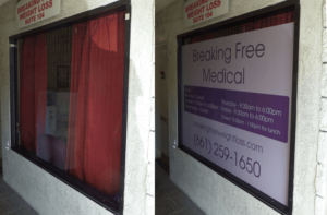 breaking free medical window sign