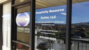 hospitality resource center vinyl sign
